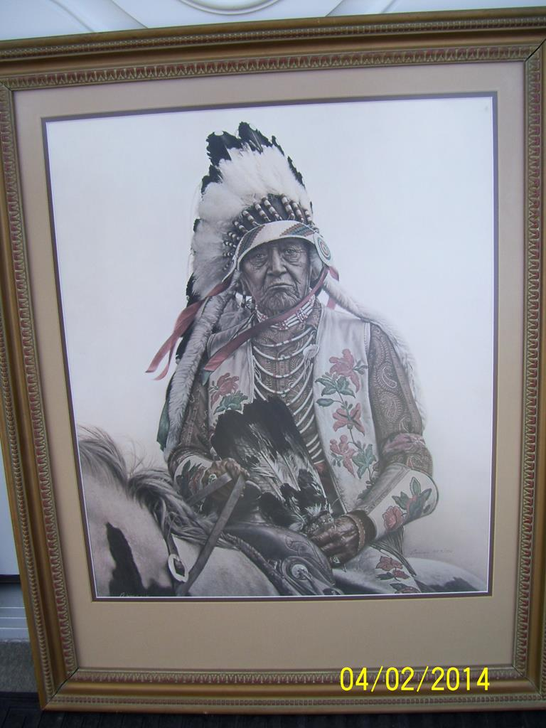 Bama 23x20 Signed Print Oldest Living Crow Indian 957 1500